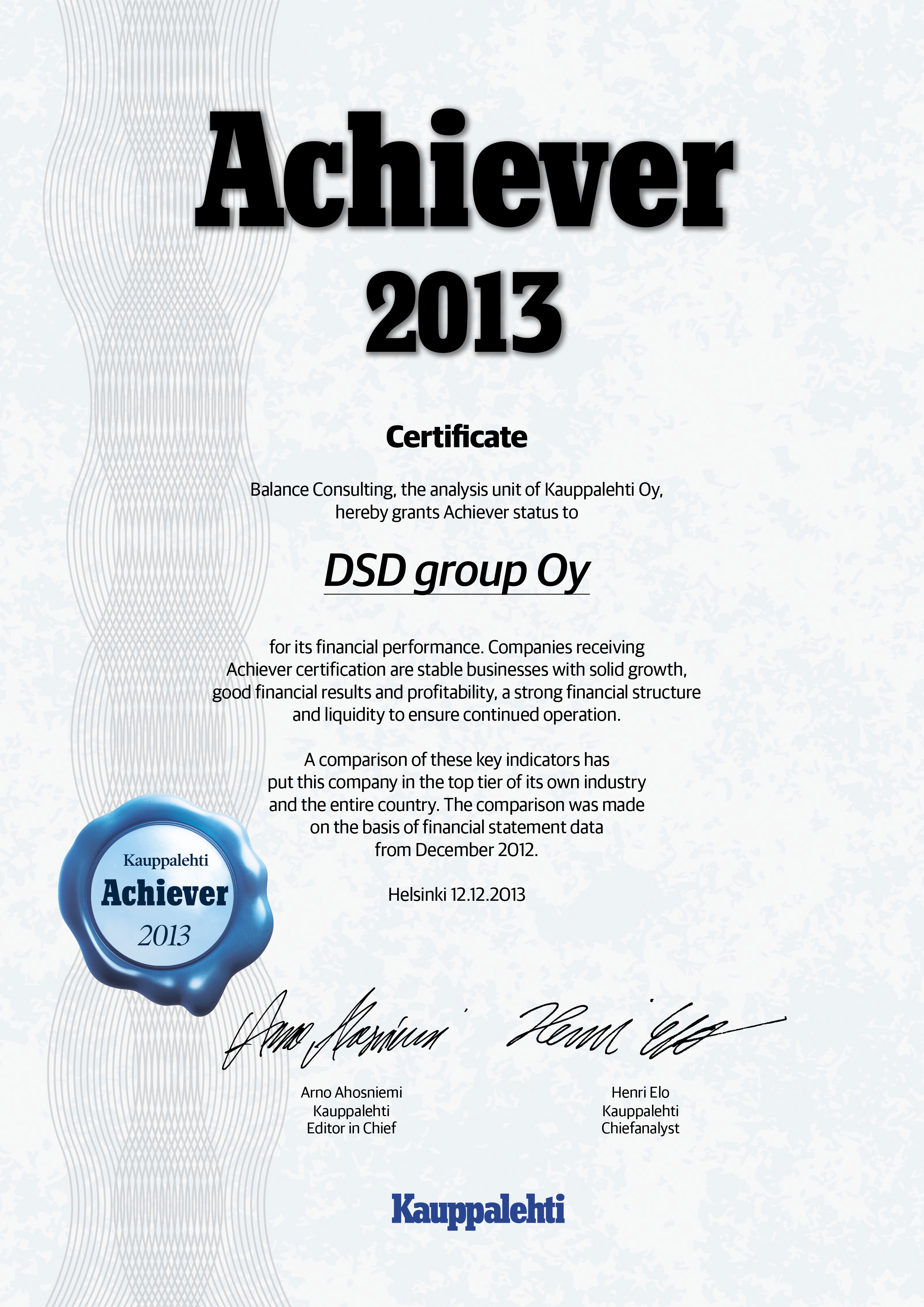 Dsd Group Certificate